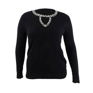 INC Women's Embellished Keyhole Sweater Large